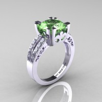 Modern Vintage 14K White Gold 3.0 Carat Green Topaz Diamond Solitaire Ring R102-14KWGDGT