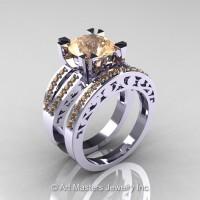 Modern Vintage 14K White Gold 3.0 Carat Champagne Diamond Solitaire and Wedding Ring Bridal Set R102S-14KWGCHD