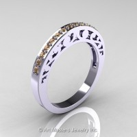 Modern Vintage 14K White Gold Champagne Diamond Matching Wedding Band R102B-14KWGCHD