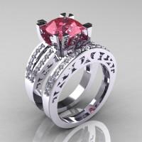 Modern Vintage 14K White Gold 3.0 Ct Light Tourmaline Diamond Solitaire Ring and Wedding Band Bridal Set R102S-14KWGDLT