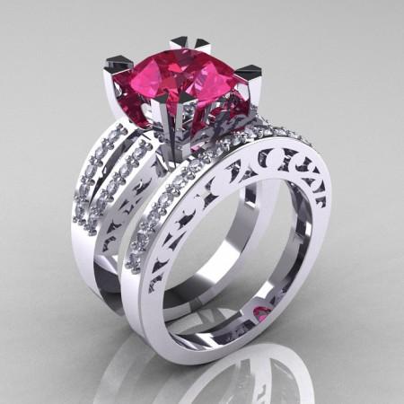 Modern-Vintage-White-Gold-Tourmaline-Diamond-Solitaire-Ring-Wedding-Band-Set-R102S-WGDT-SET-P