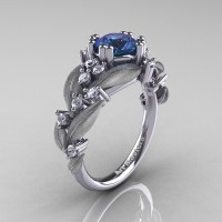 Nature Classic 14K White Gold 1.0 Ct Alexandrite Diamond Leaf and Vine Engagement Ring R340S-14KWGDAL