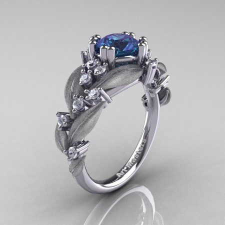 Nature-Classic-14K-White-Gold-1-0-Ct-Alexandrite Diamond-Leaf-and-Vine Engagement-Ring-R340S-14KWGDAL2
