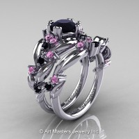 Nature Classic 14K White Gold 1.0 Ct Black Diamond Light Pink Sapphire Leaf and Vine Engagement Ring Wedding Band Set R340S-14KWGLPSBD