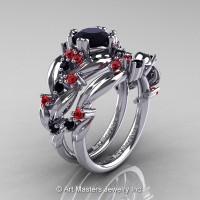 Nature Classic 14K White Gold 1.0 Ct Black Diamond Rubies Leaf and Vine Engagement Ring Wedding Band Set R340S-14KWGRBD