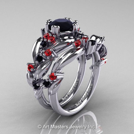 Nature-Classic-14K-White-Gold-1-0-Ct-Black-Diamond-Rubies-Leaf-and-Vine-Engagement-Ring-Wedding-Band-Set-R340S-14KWGRBD-P