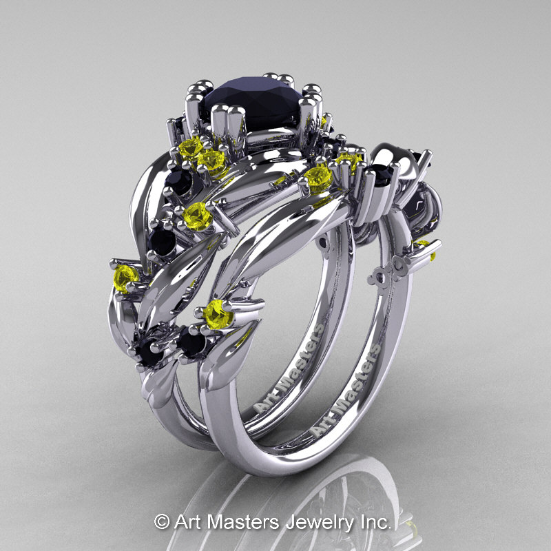 Nature Classic 14K White Gold 10 Ct Black Diamond Yellow