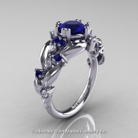 Nature Classic 14K White Gold 1.0 Ct Royal Blue Sapphire Diamond Leaf and Vine Engagement Ring R340-14KWGDBS