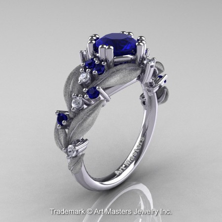 Nature-Classic-14K-White-Gold-1-0-Ct-Blue-Sapphire-Diamond-Leaf-and-Vine-Engagement-Ring-R340S-14KWGDBS-P