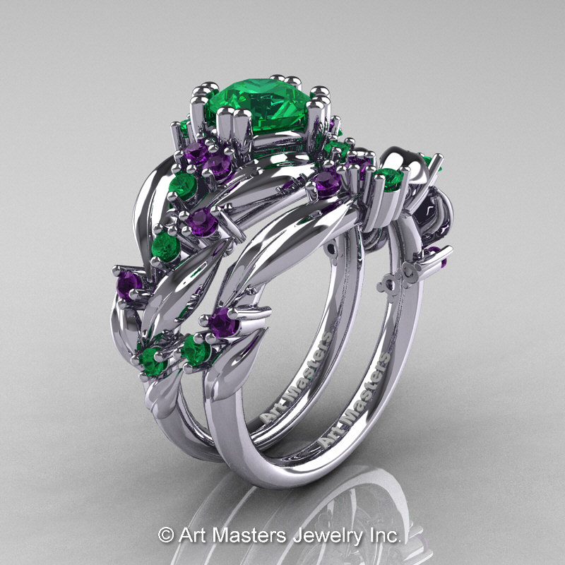 Nature Classic 14k White Gold 1 0 Ct Emerald Amethyst Leaf