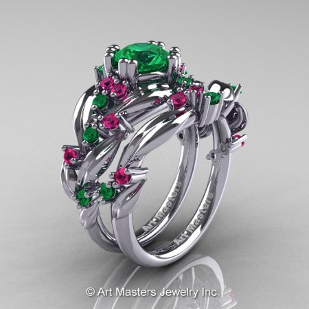 Nature-Classic-14K-White-Gold-1-0-Ct-Emerald-Pink-Sapphire-Leaf-and-Vine-Engagement-Ring-Wedding-Band-Set-R340S-14KWGPSEM-P