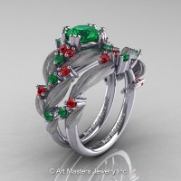 Nature Classic 14K White Gold 1.0 Ct Emerald Rubies Leaf and Vine Engagement Ring Wedding Band Set R340SS-14KWGREM