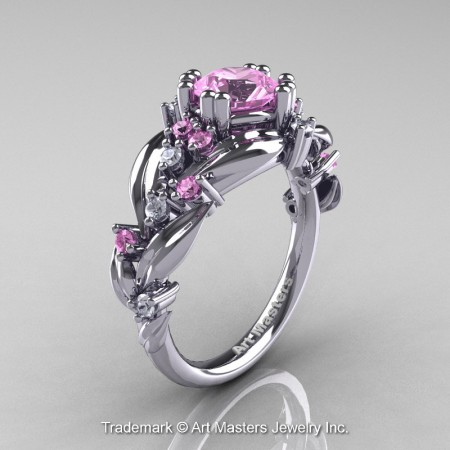 Nature-Classic-14K-White-Gold-1-0-Ct-Light-Pink-Sapphire-Diamond-Leaf-and-Vine-Engagement-Ring-R340-14KWGDLPS-P