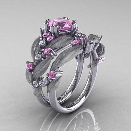 Nature-Classic-14K-White-Gold-1-0-Ct-Light-Pink-Sapphire-Diamond-Leaf-and-Vine-Engagement-Ring-Wedding-Band-Set-R340SS-14KWGDLPS-P2