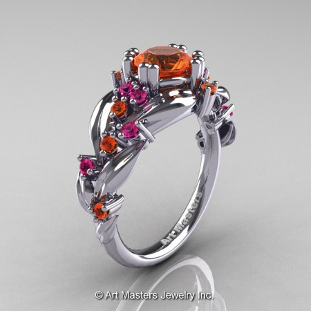 Nature-Classic-14K-White-Gold-1-0-Ct-Orange-Pink-Sapphire-Leaf-and-Vine-Engagement-Ring-R340-14KWGPOS-P