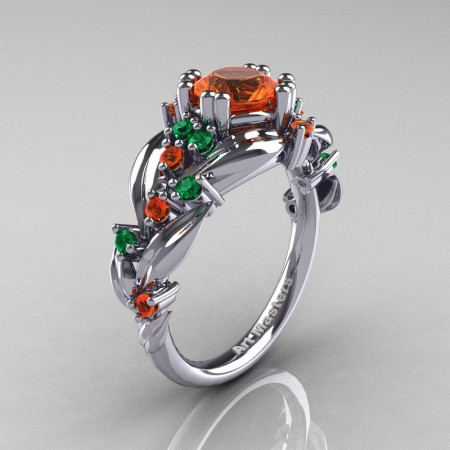 Nature-Classic-14K-White-Gold-1-0-Ct-Orange-Sapphire-Emerald-Leaf-and-Vine-Engagement-Ring-R340-14KWGBEMOS-P