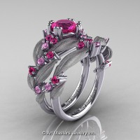 Nature Classic 14K White Gold 1.0 Ct Pink Sapphire Leaf and Vine Engagement Ring Wedding Band Set R340SS-14KWGPS