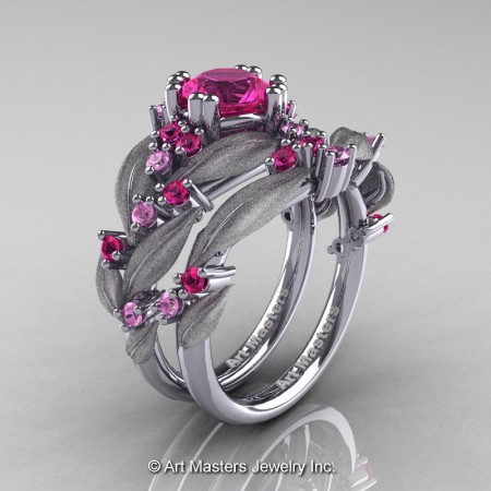 Nature-Classic-14K-White-Gold-1-0-Ct-Pink-Sapphire-Leaf-and-Vine-Engagement-Ring-Wedding-Band-Set-R340SS-14KWGPS-P