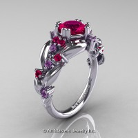 Nature Classic 14K White Gold 1.0 Ct Rose Ruby Lilac Amethyst Leaf and Vine Engagement Ring R340-14KWGLAMRR