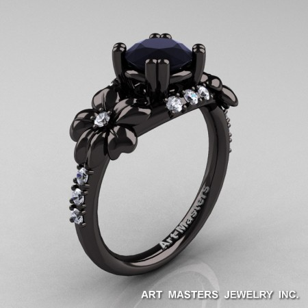 Nature-Inspired-14K-Black-Gold-1-0-Ct-Black-Moissanite-Diamond-Leaf-Vine-Engagement-Ring-R245-BGDBM-P