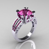 Modern Vintage 14K White Gold 3.0 Carat Pink Sapphire Solitaire Ring R102-14KWGPSS