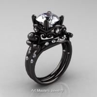 Modern Vintage 14K Black Gold 3.0 Ct White CZ White Diamond Solitaire Ring Set R167S-14KBGDCZ