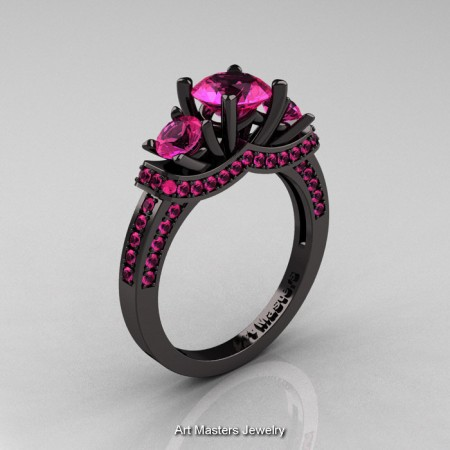 French 14K Black Gold Three Stone Pink Sapphire Wedding Ring Engagement Ring R182-14KBGPSS