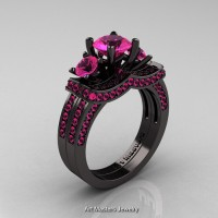 French 14K Black Gold Three Stone Pink Sapphire Engagement Ring Wedding Band Set R182S-14KBGPSS