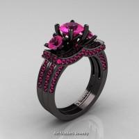 French 14K Black Gold Three Stone Pink Sapphire Engagement Ring Wedding Band Set R182S-14KBGPSS
