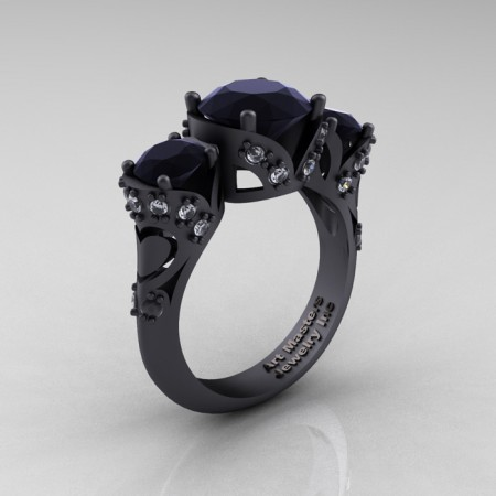 Scandinavian-14K-Matte-Black-Gold-2-0-Ct-Black-and-White-Diamond-Designer-Engagement-Ring-R406-14KMBGDBD-P
