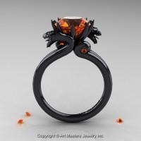 Art Masters Scandinavian 14K Black Gold 3.0 Ct Orange Sapphire Dragon Engagement Ring R601-14KBGOS