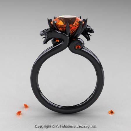 Western-Dragon-14K-Black-Gold-3-Carat-Orange-Sapphire-Engagement-Ring-R601-14KBGOS-F