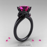 Scandinavian 14K Black Gold 3.0 Ct Pink Sapphire Dragon Engagement Ring R601-14KBGPS