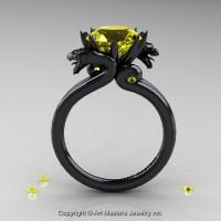 Art Masters Scandinavian 14K Black Gold 3.0 Ct Yellow Sapphire Dragon Engagement Ring R601-14KBGYS