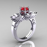 Art Masters Classic Winged Skull 14K White Gold 1.0 Ct Firecracker Ruby Diamond Solitaire Engagement Ring R613-14KWGDR