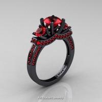 French 14K Black Gold Three Stone Rubies Wedding Ring Engagement Ring R182-14KBGR
