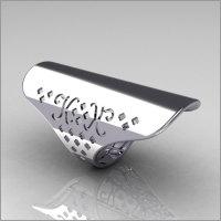 Celebrity Fashion 14K White Gold Long Knuckle Celebrity Ring R54-14KWG-1