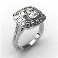 Classic Legacy Style 14K White Gold .28 ctw Diamond 2.0CT Cushion Cut CZ Bridal Ring R60-14KWGDCZ-1