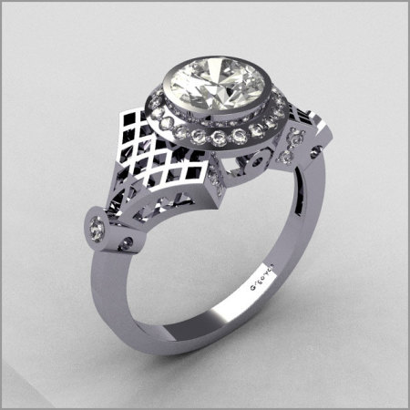 Modern Antique 18K White Gold .20 ctw Diamond .80 CT Cubic Zirconia Bridal Ring R55-18KWGDCZ-1