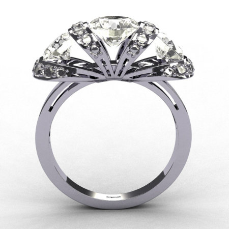 Classic Three CZ Stone 14K W. Gold .38CT Diamond Bridal Ring R45-14KWGDR-1