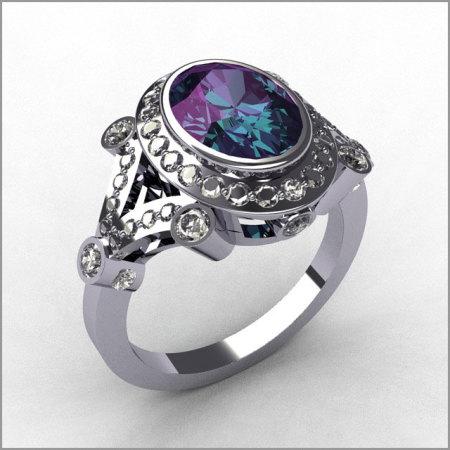 Modern Victorian 18K White Gold .58 ctw Diamond Oval Alexandrite Bridal Ring R58-18KWGDAL-1
