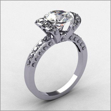 Classic Style 14K White Gold .31 ct Diamond CZ Ribbon Bridal Ring R62-14KWGDCZ-1