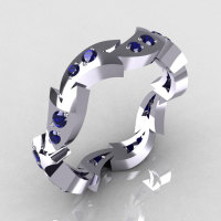 18K White Gold .35 CTW Round Blue Sapphire Eternity Ring Y245-18KWGBS-1