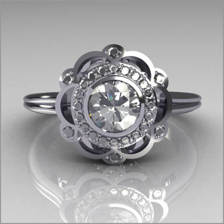 Classic 18K White Gold Round Diamond .50 CT Zirconia Bridal Ring R70-18KWGDCZ-1