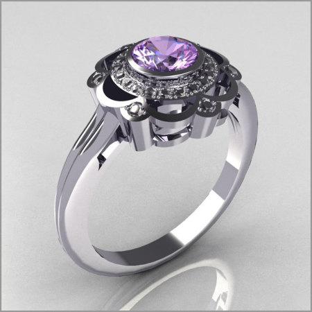 Classic 18K White Gold Diamond Lilac Amethyst Bridal Ring R70-18KWGDLA-1