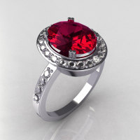 Victorian 950 Platinum 3.0 CT Oval Raspberry Red Garnet 0.45 CTW Diamond Ring R72-PLATDRG-1
