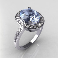 Classic 14K White Gold 3.0 CT Oval Blue Topaz 0.45 CTW Diamond Engagement Ring R72-WGDBT-1