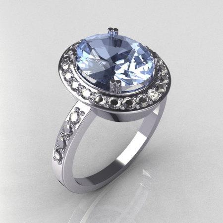 Classic 14K White Gold 3.0 CT Oval Blue Topaz 0.45 CTW Diamond Engagement Ring R72-WGDBT-1