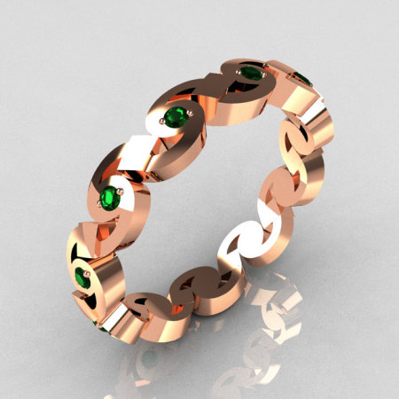 Exclusive 18K Pink Gold Round Emerald Eternity Designer Ring Y243-18KPGE-1
