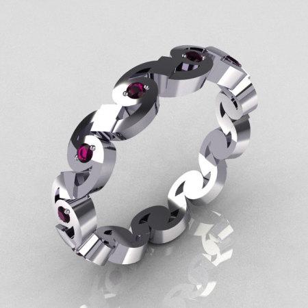 Exclusive 14K White Gold Round Amethyst Eternity Designer Ring Y243-14KWGA-1